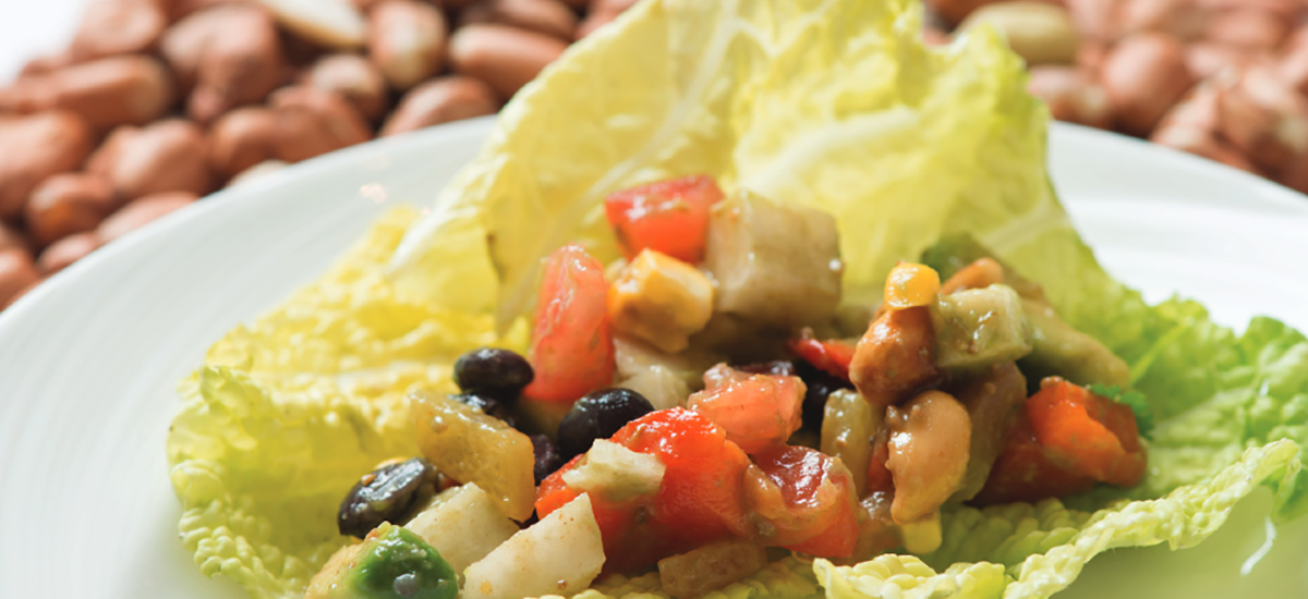 Chopped Salad of Corn, Tomatoes, Peppers, Jicama, Avocado, and Black Beans with Smoked Peanuts