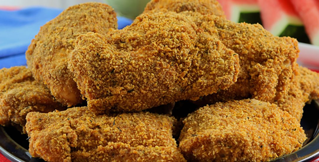 Healthy Oven Fried Chicken with Peanut Flour