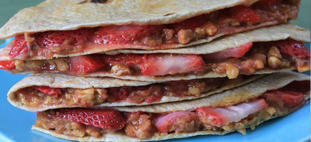 Peanut Butter and Strawberry Quesadillas