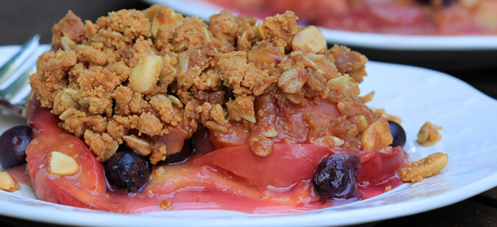 Peach Berry Crisp with Oatmeal-Peanut Topping