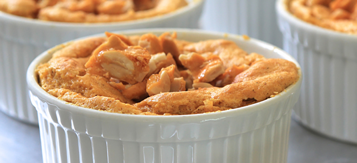 Pumpkin Mousse with Peanut Praline Topping