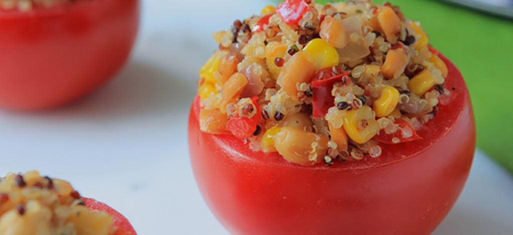 Tomatoes Stuffed with Peanut Quinoa