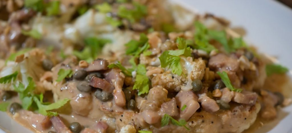 "Cauliflower ""Steaks"" with Peanuts, Bacon and Capers"