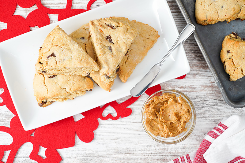 Peanut Butter Chocolate Chip Scones