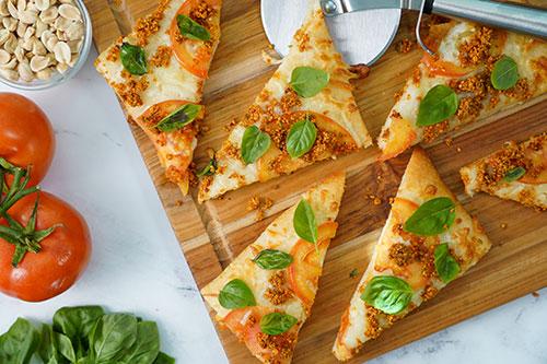 "Flatbread Pizza with Peanut ""Sausage"" Crumbles"