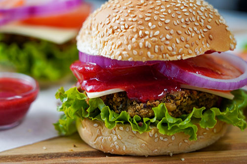 Peanut Burger with Raspberry Coulis