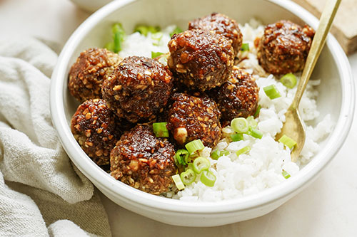 Sticky Sesame Vegan Meatballs (with Peanuts + Lentils)